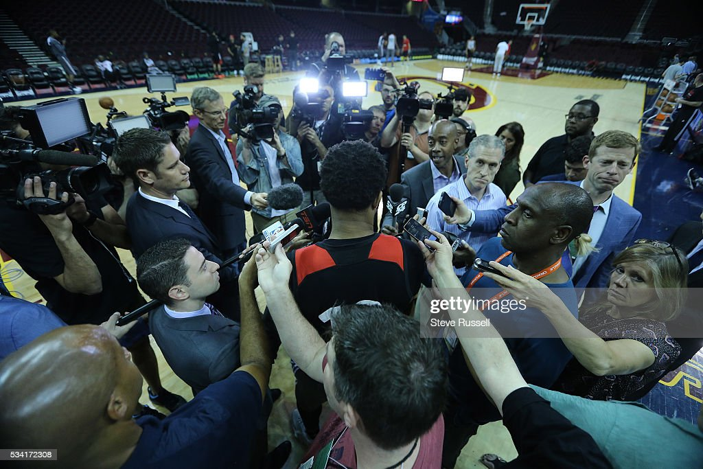 DeMar DeRozan talks during media availability as the Toronto Raptors prepare to play the Cleveland Cavaliers in game 5 of the NBA Conference Finals at Quicken Loans Arena in Cleveland. May 25, 2016.