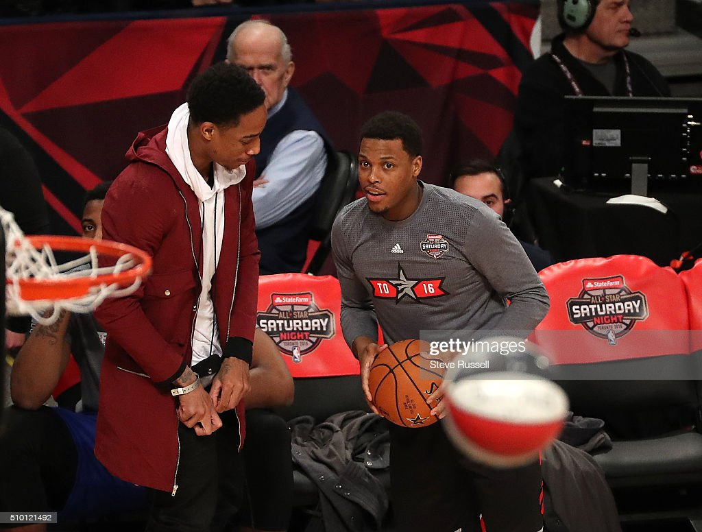 DeMar DeRozan talks to Kyle Lowry before the three point shootout during the NBA's All-Star Saturday Night. Where players compete in three events, the Skills Challenge, 3-point shooting and Slam Dunk at the in Toronto. February 13, 2016.