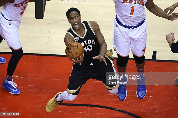 DeMar DeRozan was named an allstar earlier in the day as the Toronto Raptors play the New York Knicks at the Air Canada Centre in Toronto January 28...