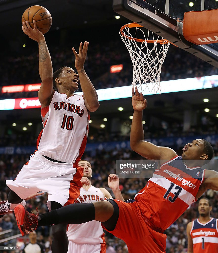 DeMar DeRozan would score 25 including this one over Kevin Seraphin in second half action as the Toronto Raptors beat the Washington Wizards 88-78 at the Air Canada Centre in Toronto.