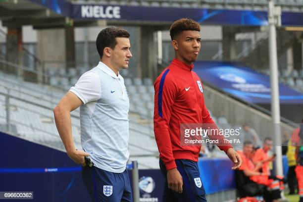 Demarai Gray and Ben Chilwell of England walk on the pitch prior to the UEFA European Under21 Championship match between Sweden and England at Kielce...