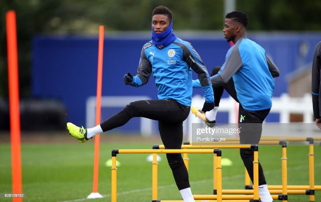 Demarai Gray during the Leicester City training session at Belvoir Drive Training Complex on August 09 , 2017 in Leicester, United Kingdom.