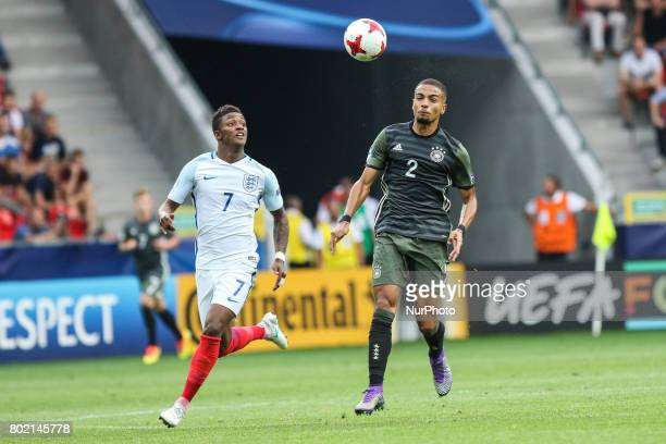 Demarai Gray Jeremy Toljan during the UEFA European Under21 Championship Semi Final match between England and Germany at Tychy Stadium on June 27...