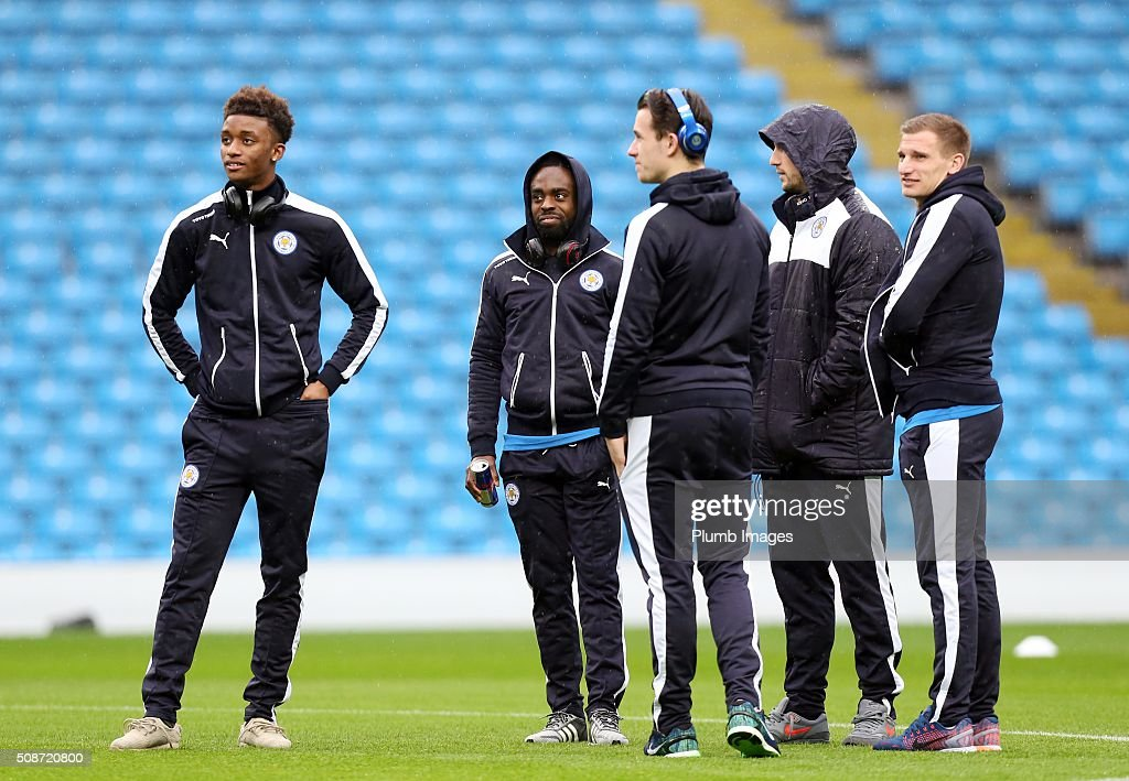Demarai Gray, Nathan Dyer, Ben Chilwell, Danny Drinkwater and Marc Albrighton of Leicester City at the Etihad Stadium ahead of the Premier League match between Manchester City and Leicester City at Etihad Stadium on February 6, 2016 in Manchester, United Kingdom.