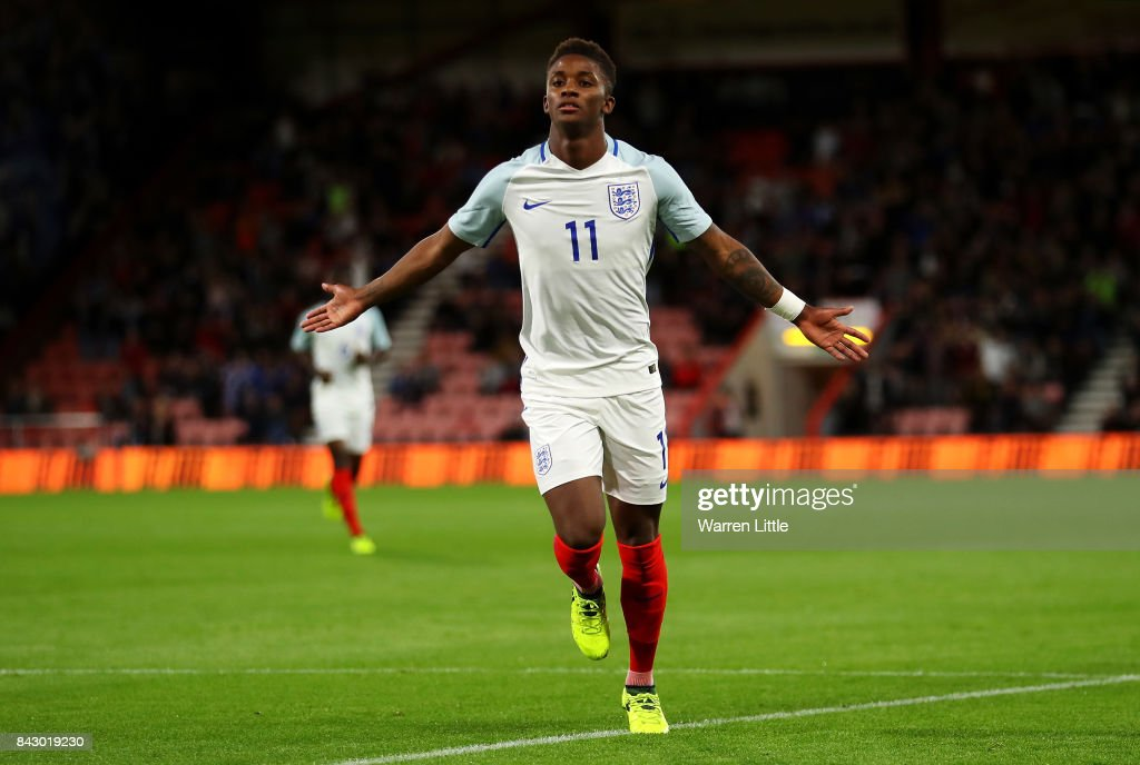 Demarai Gray of England celebrates scoring the 1st England goal during the UEFA Under 21 Championship Qualifiers between England and Latvia at Vitality Stadium on September 5, 2017 in Bournemouth, England.