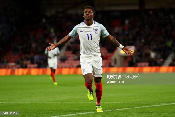 Demarai Gray of England celebrates scoring the 1st England goal during the UEFA Under 21 Championship Qualifiers between England and Latvia at...