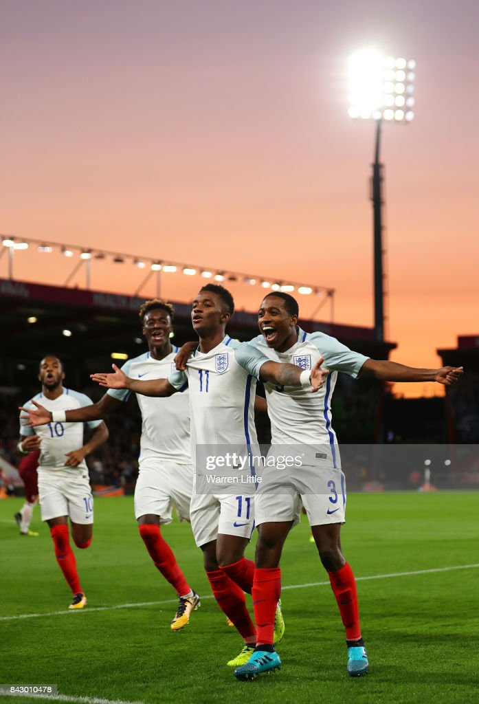 Demarai Gray (C) of England celebrates scoring the 1st England goal with Tammy Abraham (L) and Kyle Walker-Peters during the UEFA Under 21 Championship Qualifiers between England and Latvia at Vitality Stadium on September 5, 2017 in Bournemouth, England.