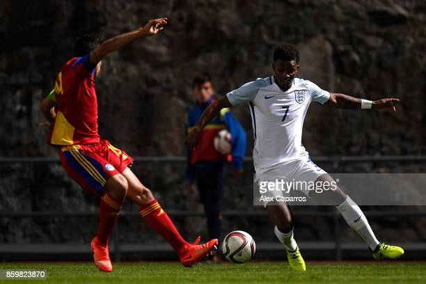 Demarai Gray of England is challenged by Aleix Viladot of Andorra during the UEFA European Under 21 Championship Qualifier between Andorra U21 and...