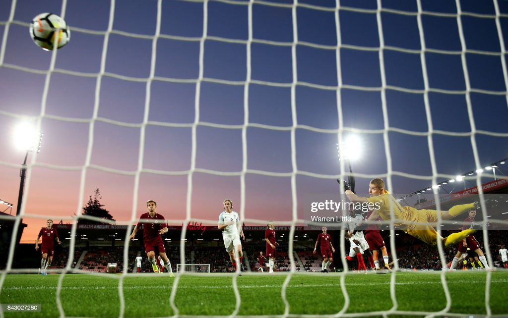 Demarai Gray (Not Pictured) of England scores the 1st England goal during the UEFA Under 21 Championship Qualifiers between England and Latvia at Vitality Stadium on September 5, 2017 in Bournemouth, England.