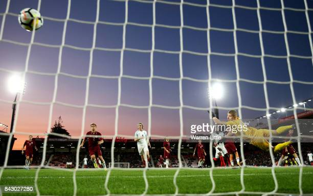 Demarai Gray of England scores the 1st England goal during the UEFA Under 21 Championship Qualifiers between England and Latvia at Vitality Stadium...