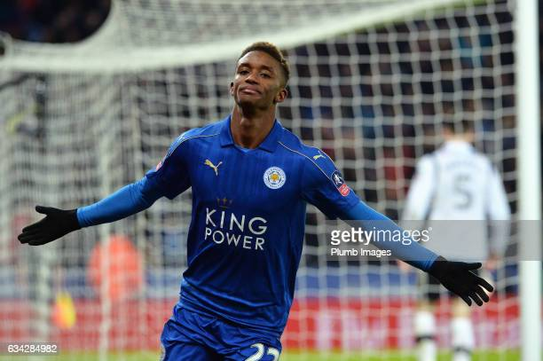 Demarai Gray of Leicester City celebrates after scoring to make it 31 during the Emirates FA Cup Fourth Round Replay match between Leicester City and...
