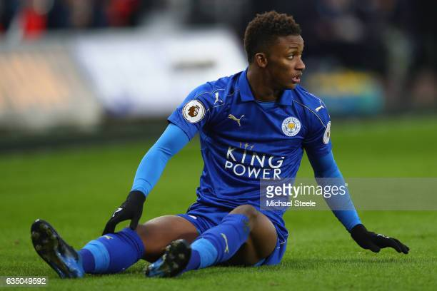 Demarai Gray of Leicester City during the Premier League match between Swansea City and Leicester City at Liberty Stadium on February 12 2017 in...
