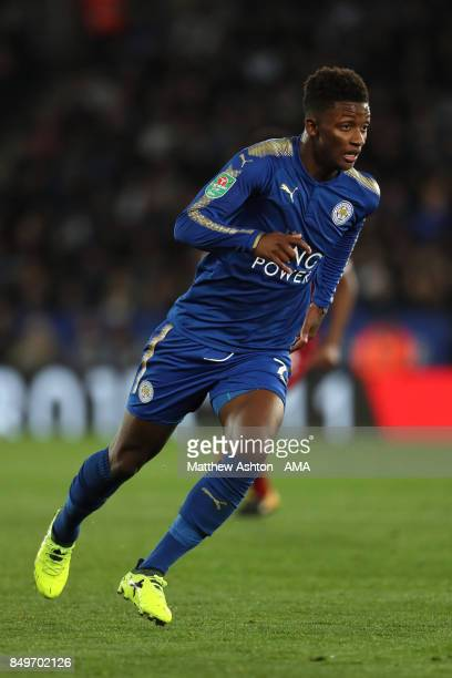 Demarai Gray of Leicester City in action during the Carabao Cup third round match between Leicester City and Liverpool at The King Power Stadium on...