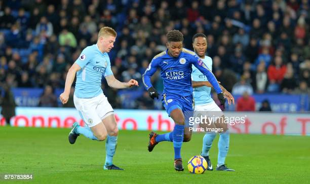 Demarai Gray of Leicester City in action with Kevin De Bruyne of Manchester City during the Premier League match between Leicester City and...