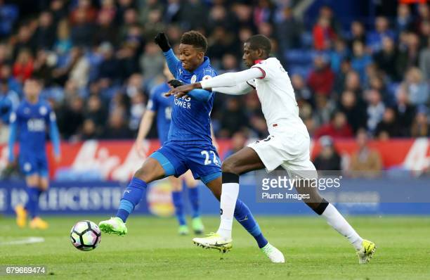 Demarai Gray of Leicester City in action with M'Baye Niang of Watford during the Premier League match between Leicester City and Watford at King...