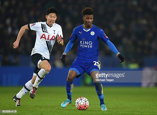 Demarai Gray of Leicester City is closed down by Son HeungMin of Spurs during the Emirates FA Cup Third Round Replay match between Leicester City and...