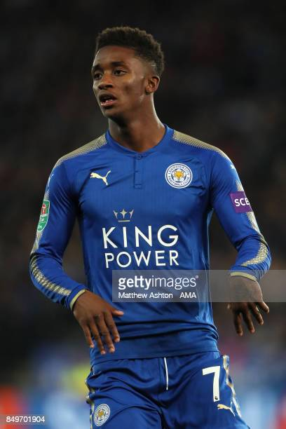 Demarai Gray of Leicester City looks on during the Carabao Cup third round match between Leicester City and Liverpool at The King Power Stadium on...