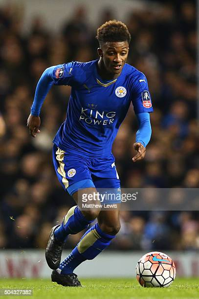 Demarai Gray of Leicester City runs with the ball during The Emirates FA Cup third round match between Tottenham Hotspur and Leicester City at White...