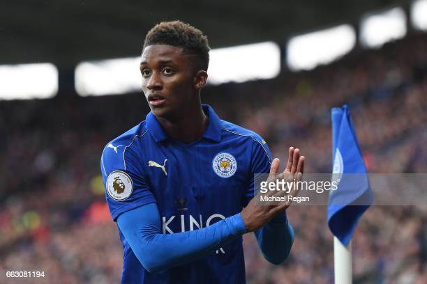Demarai Gray of Leicester City shows appreciation to the fans during the Premier League match between Leicester City and Stoke City at The King Power...