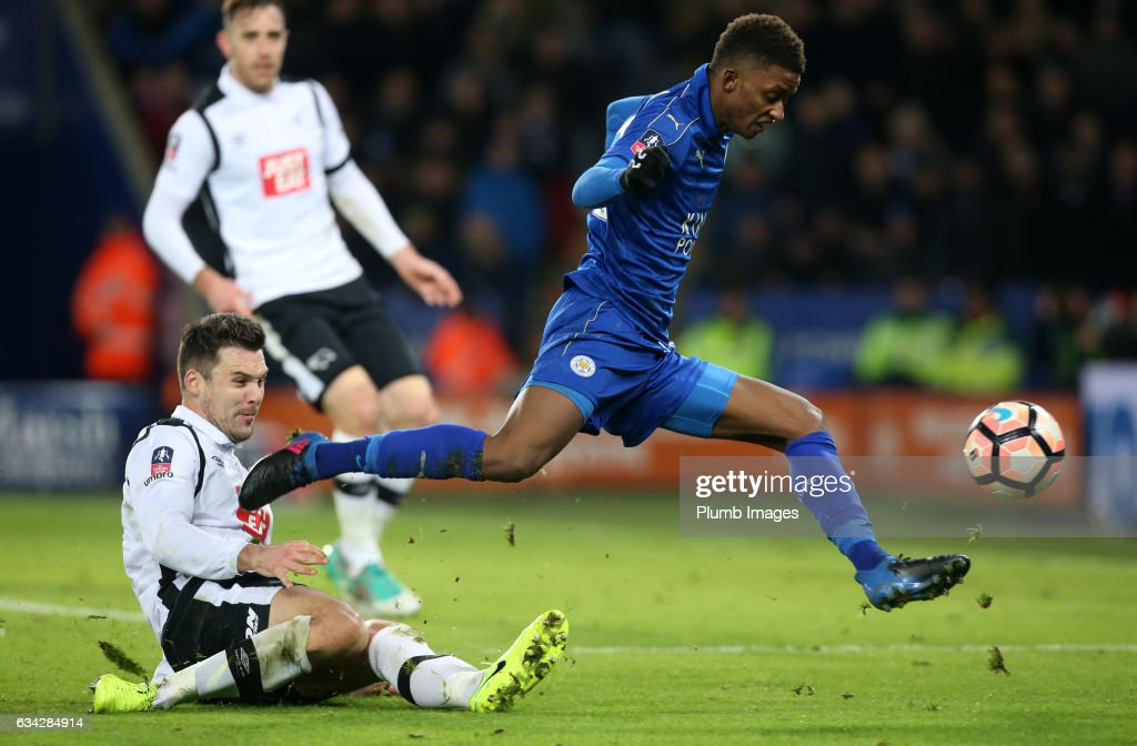 Demarai Gray of Leicester City skips past a challenge during the Emirates FA Cup Fourth Round Replay match between Leicester City and Derby County at King Power Stadium on February 08 , 2017 in Leicester, United Kingdom.