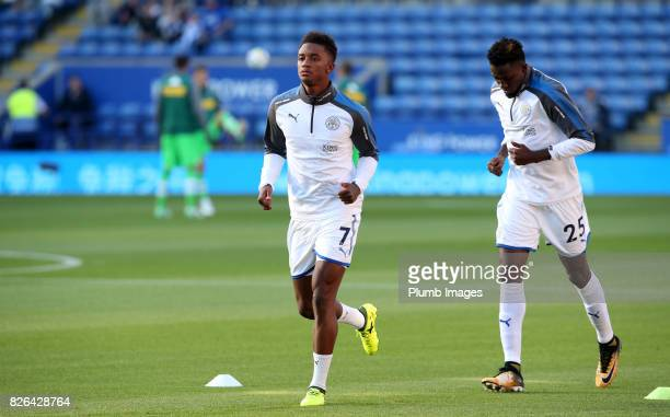 Demarai Gray of Leicester City warms up at King Power Stadium ahead of the Leicester City v Borussia Monchengladbach Preseason Friendly at King Power...