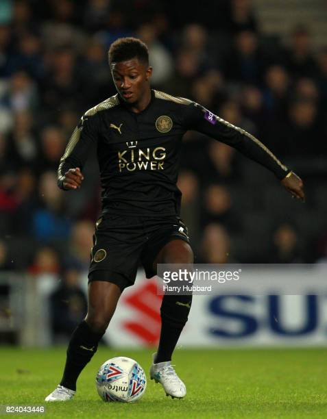 Demarai Gray of Leicester in action during the preseason friendly match between MK Dons and Leicester City at StadiumMK on July 28 2017 in Milton...