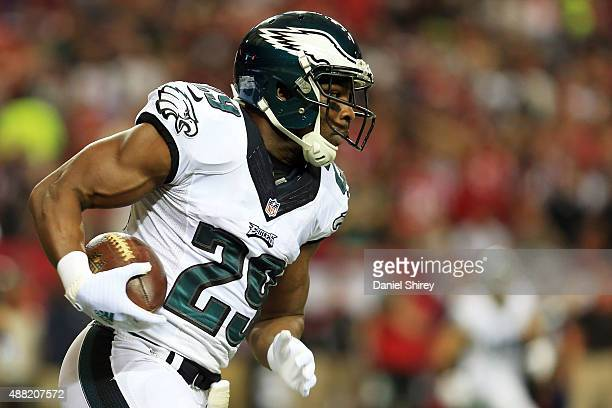 DeMarco Murray of the Philadelphia Eagles runs the ball during the first half against the Atlanta Falcons at the Georgia Dome on September 14 2015 in...
