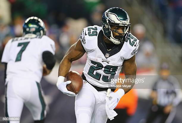 DeMarco Murray of the Philadelphia Eagles runs with the ball against the New England Patriots at Gillette Stadium on December 6 2015 in Foxboro...