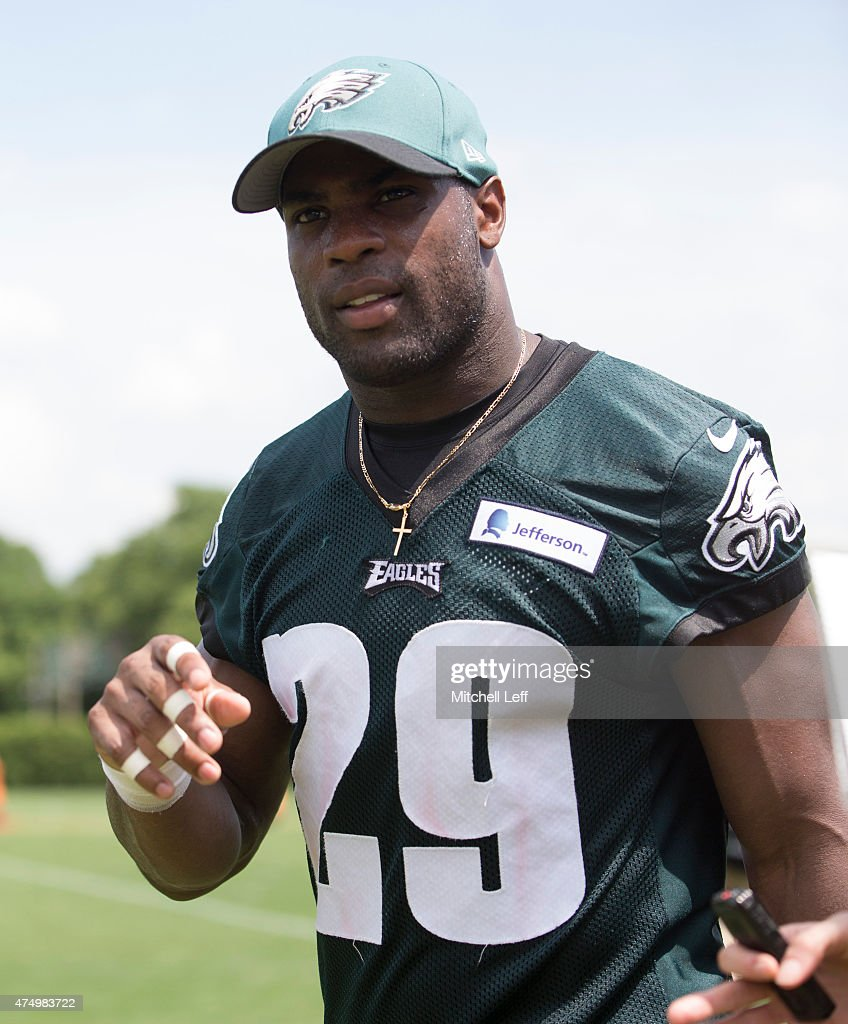 DeMarco Murray of the Philadelphia Eagles talks to the media after OTA's on May 28 2015 at the NovaCare Complex in Philadelphia Pennsylvania