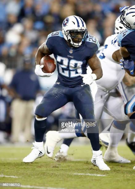 DeMarco Murray of the Tennessee Titans runs with the ball against the Indianapolis Colts at Nissan Stadium on October 16 2017 in Nashville Tennessee