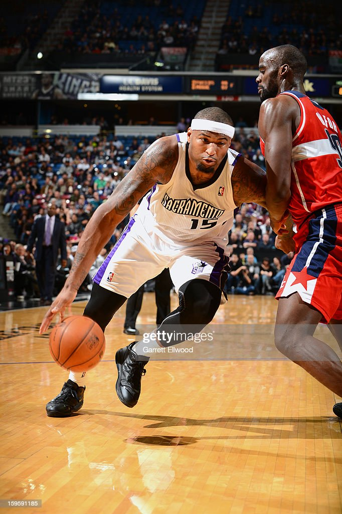 <a gi-track='captionPersonalityLinkClicked' href=/galleries/search?phrase=DeMarcus+Cousins&family=editorial&specificpeople=5792008 ng-click='$event.stopPropagation()'>DeMarcus Cousins</a> #15 drives the ball against <a gi-track='captionPersonalityLinkClicked' href=/galleries/search?phrase=Emeka+Okafor&family=editorial&specificpeople=201739 ng-click='$event.stopPropagation()'>Emeka Okafor</a> #50 of the Washington Wizards on January 16, 2013 at Sleep Train Arena in Sacramento, California.