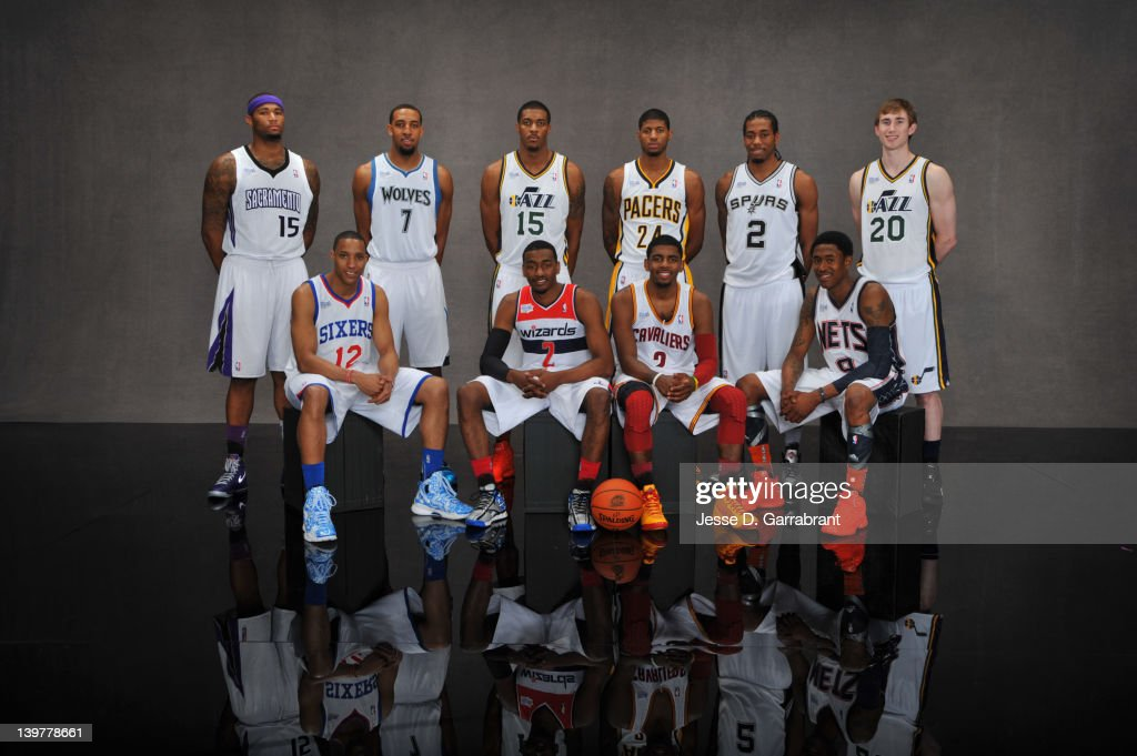 <a gi-track='captionPersonalityLinkClicked' href=/galleries/search?phrase=DeMarcus+Cousins&family=editorial&specificpeople=5792008 ng-click='$event.stopPropagation()'>DeMarcus Cousins</a> #15, <a gi-track='captionPersonalityLinkClicked' href=/galleries/search?phrase=Evan+Turner&family=editorial&specificpeople=4665764 ng-click='$event.stopPropagation()'>Evan Turner</a> #12, Derrick Williams #7, <a gi-track='captionPersonalityLinkClicked' href=/galleries/search?phrase=Derrick+Favors&family=editorial&specificpeople=5792014 ng-click='$event.stopPropagation()'>Derrick Favors</a> #15, <a gi-track='captionPersonalityLinkClicked' href=/galleries/search?phrase=John+Wall&family=editorial&specificpeople=2265812 ng-click='$event.stopPropagation()'>John Wall</a> #2, Paul George #24, <a gi-track='captionPersonalityLinkClicked' href=/galleries/search?phrase=Kyrie+Irving&family=editorial&specificpeople=6893971 ng-click='$event.stopPropagation()'>Kyrie Irving</a> #2, Kawji Leonard #2, <a gi-track='captionPersonalityLinkClicked' href=/galleries/search?phrase=MarShon+Brooks&family=editorial&specificpeople=4884862 ng-click='$event.stopPropagation()'>MarShon Brooks</a> #9 and <a gi-track='captionPersonalityLinkClicked' href=/galleries/search?phrase=Gordon+Hayward&family=editorial&specificpeople=5767271 ng-click='$event.stopPropagation()'>Gordon Hayward</a> #20 of Team Chuck poses for portraits prior to the BBVA Rising Stars Challenge at Amway Centerl on February 24, 2012 in Orlando, Florida.
