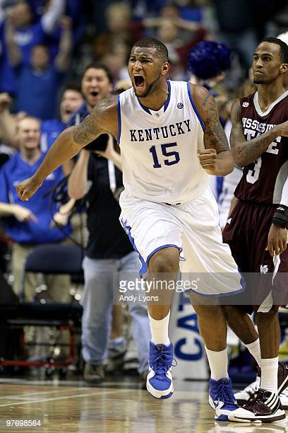 DeMarcus Cousins of the Kentucky Wildcats celebrates after he made a 2point basket at the end of regulation to tie the game and send it to overtime...