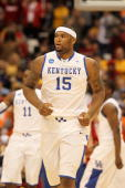 DeMarcus Cousins of the Kentucky Wildcats runs up court against the Cornell Big Red during the east regional semifinal of the 2010 NCAA men's...