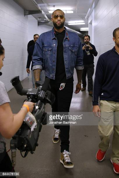 DeMarcus Cousins of the New Orleans Pelicans arrives before a game against the Houston Rockets at the Smoothie King Center on February 23 2017 in New...