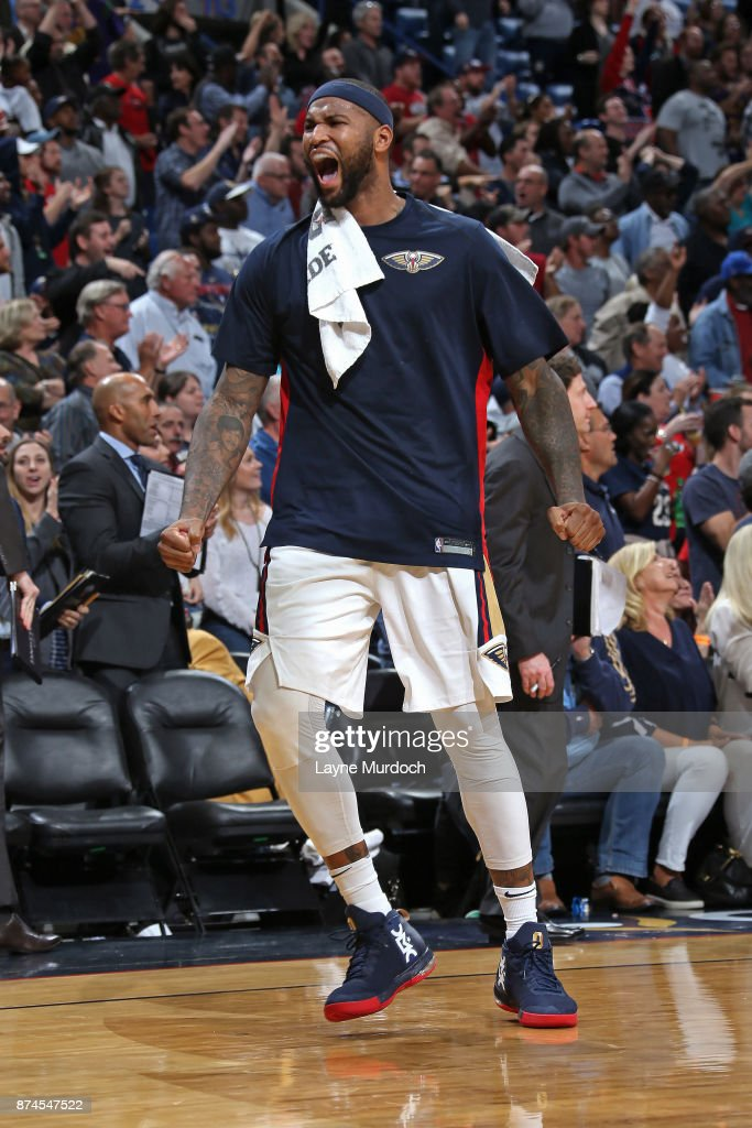 DeMarcus Cousins #0 of the New Orleans Pelicans celebrates during the game against the Atlanta Hawks on November 13, 2017 at Smoothie King Center in New Orleans, Louisiana.