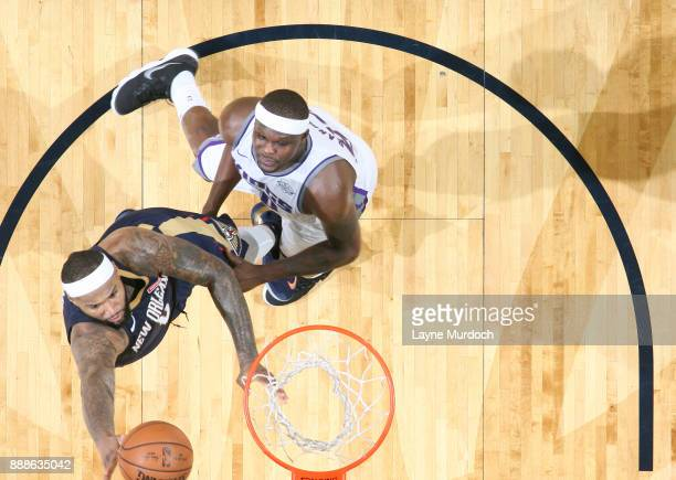 DeMarcus Cousins of the New Orleans Pelicans dunks against Zach Randolph of the Sacramento Kings on December 8 2017 at Smoothie King Center in New...