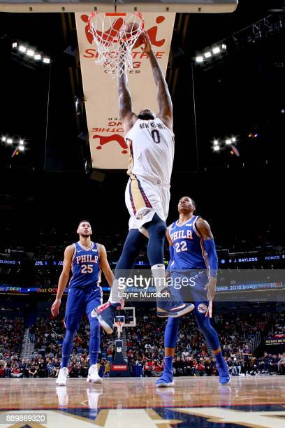 DeMarcus Cousins of the New Orleans Pelicans goes to the basket against the Philadelphia 76ers on December 10 2017 at the Smoothie King Center in New...