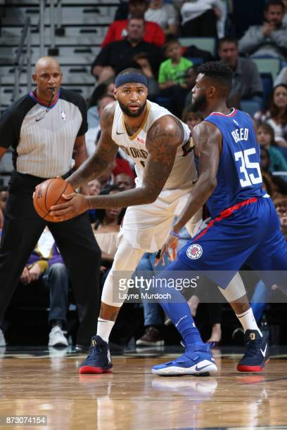 DeMarcus Cousins of the New Orleans Pelicans handles the ball against the LA Clippers on November 11 2017 at Smoothie King Center in New Orleans...
