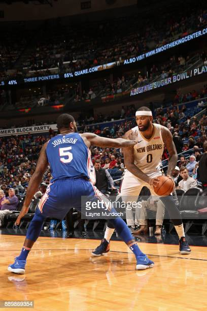 DeMarcus Cousins of the New Orleans Pelicans handles the ball against the Philadelphia 76ers on December 10 2017 at the Smoothie King Center in New...