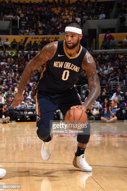 DeMarcus Cousins of the New Orleans Pelicans handles the ball during the game against the Los Angeles Lakers on October 22 2017 at STAPLES Center in...