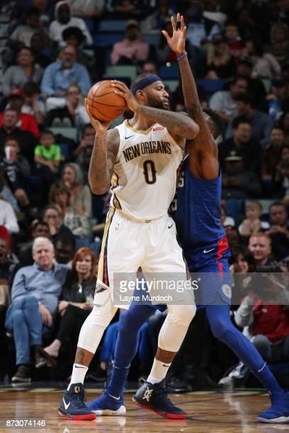 DeMarcus Cousins of the New Orleans Pelicans looks to pass against the LA Clippers on November 11 2017 at Smoothie King Center in New Orleans...