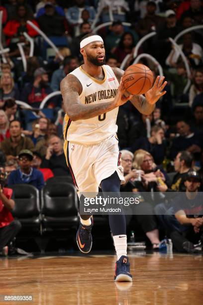 DeMarcus Cousins of the New Orleans Pelicans passes the ball against the Philadelphia 76ers on December 10 2017 at the Smoothie King Center in New...