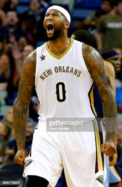DeMarcus Cousins of the New Orleans Pelicans reacts after an assist against the Memphis Grizzlies during the second half at the Smoothie King Center...