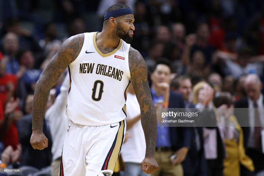 DeMarcus Cousins #0 of the New Orleans Pelicans reacts during the first half of a game against the Atlanta Hawks at the Smoothie King Center on November 13, 2017 in New Orleans, Louisiana.