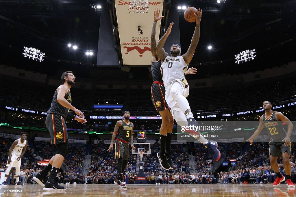 DeMarcus Cousins #0 of the New Orleans Pelicans shoots during the second half of a game against the Atlanta Hawks at the Smoothie King Center on November 13, 2017 in New Orleans, Louisiana.