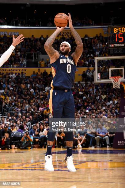 DeMarcus Cousins of the New Orleans Pelicans shoots the ball during the game against the Los Angeles Lakers on October 22 2017 at STAPLES Center in...