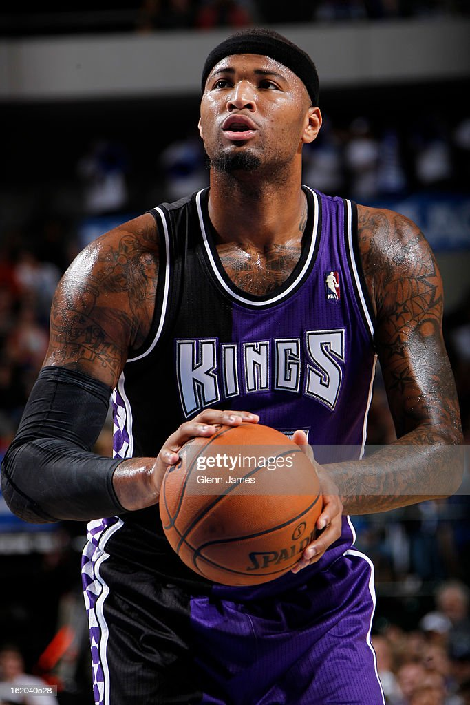 <a gi-track='captionPersonalityLinkClicked' href=/galleries/search?phrase=DeMarcus+Cousins&family=editorial&specificpeople=5792008 ng-click='$event.stopPropagation()'>DeMarcus Cousins</a> #15 of the Sacramento Kings attempts a foul shot against the Dallas Mavericks on February 13, 2013 at the American Airlines Center in Dallas, Texas.