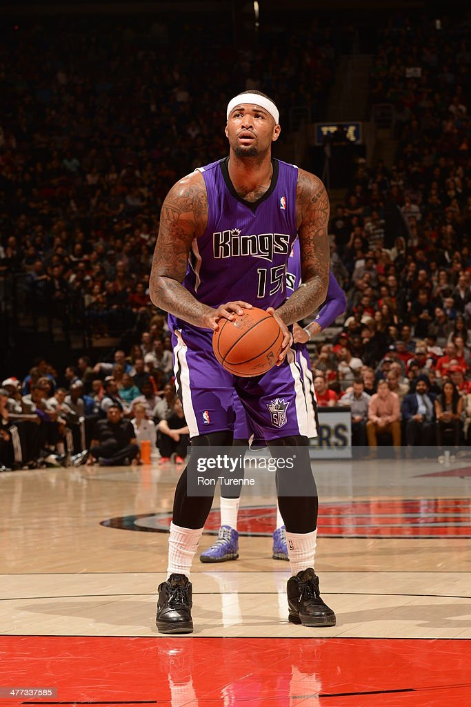 <a gi-track='captionPersonalityLinkClicked' href=/galleries/search?phrase=DeMarcus+Cousins&family=editorial&specificpeople=5792008 ng-click='$event.stopPropagation()'>DeMarcus Cousins</a> #15 of the Sacramento Kings attempts a free throw against the Toronto Raptors on March 7, 2014 at the Air Canada Centre in Toronto, Ontario, Canada.