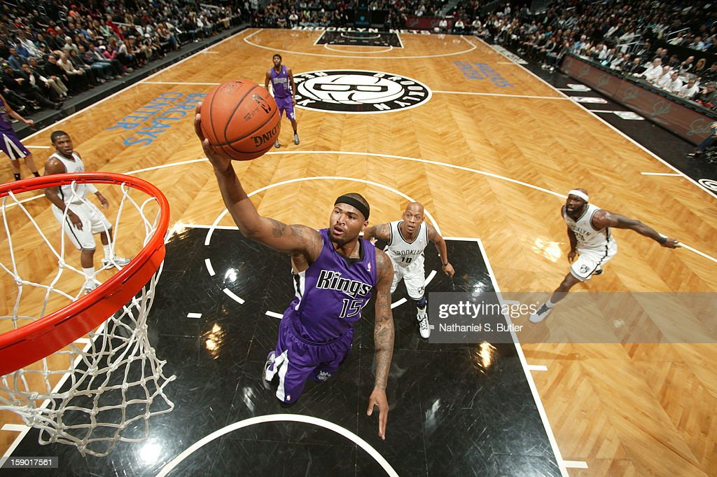 DeMarcus Cousins #15 of the Sacramento Kings drives to the basket against the Brooklyn Nets on January 5, 2013 at the Barclays Center in the Brooklyn borough of New York City.
